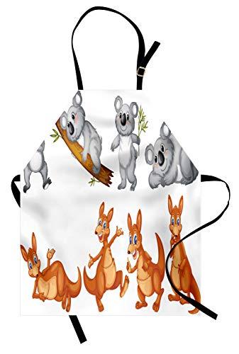 Abakuhaus Tropische Tiere Kochschürze, Australische Baby-Kängurus und Koalabären in verschiedenen Positionen Kunstdruck, Farbfest Höhenverstellbar Waschbar Klarer Digitaldruck, Braun ()