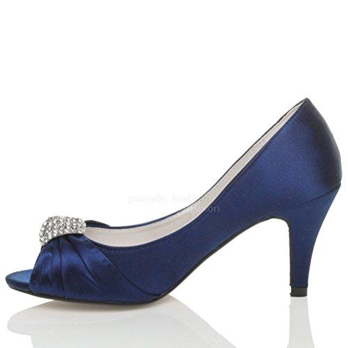 Peep Toe Menor Funil Brosche Alto Tamanho Marinha Azul Noite Sapatos Senhoras Casamento Salto wUTvxzq