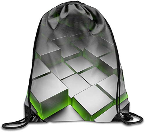 DHNKW Abstract Cube Drawstring Backpack Teen Girl Heavy Duty Sack Tote Yoga