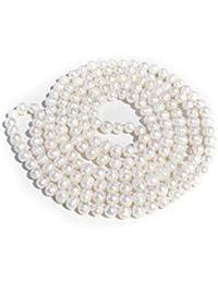 7-8mm TreasureBay blanca Natural de perlas collar con colgante en forma - 120 cm perlas cuerda larga