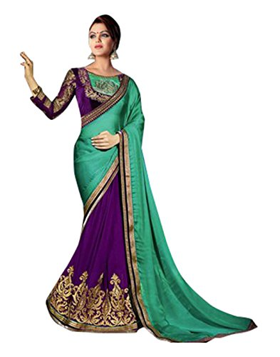 Taadrashya sarees for woman purple and green heavy embroidered latest design in silk and georgette for wedding/partywear/bridal saree with blouse material
