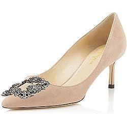 Lutalica - Zapatos de Vestir de Material Sintético para Mujer, Color, Talla 43 EU