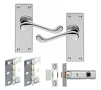 1 Set Of Victorian Scroll Latch Door Handles Polished Chrome Hinges & Latches Pack Sets - low-cost UK light shop.