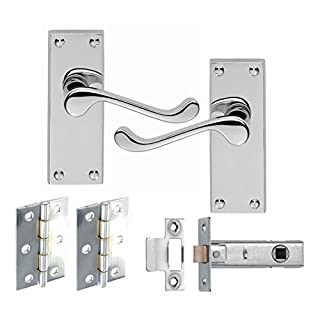 6 Sets of Victorian Scroll Latch Door Handles Polished Chrome Hinges & Latches Pack Sets 120MM X 40MM - Golden Grace