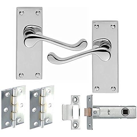 1Set di maniglia e serratura in stile vittoriano, in metallo cromato cerniere e ganci confezione Set - Cerniera Vittoriana