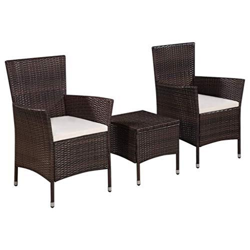 Festnight- Garten Bistro-Set aus Poly-Rattan | 3-teilige Bistroset Bistrotisch Bistrostühle | Gartenmöbel Besteht aus 1 Couchtisch und 2 Stühle