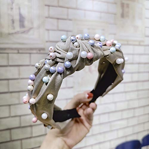 en Kinder Stirnband Einfache Bogen Knoten Kreuz Spitze Perle Headwrap Twist Haarband Hoop Vintage Haargummis Erwachsene Kopfbedeckungen für den täglichen Casual Fashion Party School ()