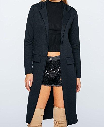 Damen Krepp Longline Duster Coat EUR Größe 36-44 Schwarz