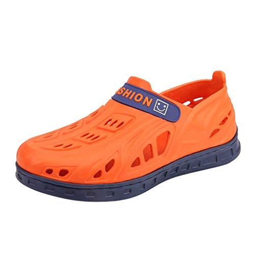 COZOCO Sommer Unisex Wohnungen Strand Sandalen Herren Flip Flops Atmungsaktiv Loch Schuhe Hausschuhe(Orange,38 EU)