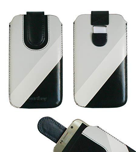 emartbuy Schwarz/Grau Premium-Pu-Leder-Slide In Case Abdeckung Tashe Hülle Sleeve Halter (Größe 4XL) Mit Zuglaschen Mechanismus Geeignet Für Die Unten Aufgeführten Smartphones