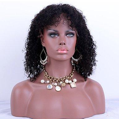 Front-Lace Echthaar Perücke Kinky Curly 100% peruanisches Virgin Hair Adjustalbe Lace Perücken Schwarz Farbe Haar für (Perücken Günstige Schwarze Haare Für)