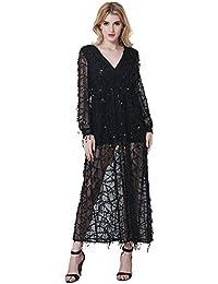 JOTHIN Damen Tief V-ausschnitt Pailletten Kleider Langarm Ballkleid Lange Kleider  Sommerkleid Schulterfrei Mesh Partykleid… 6803b8b917