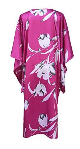 Kimono femme robe d'hôtesse - robe de chambre style boubou satiné Fuschia
