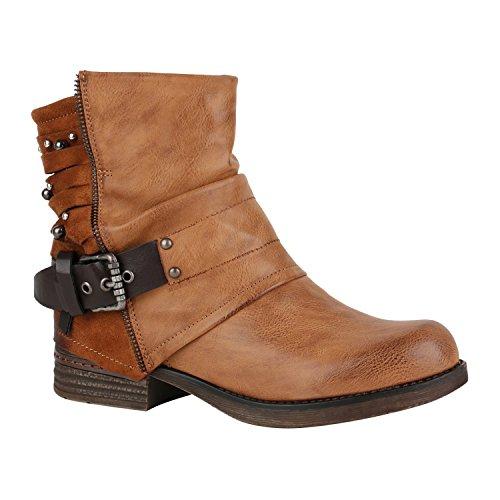 Stiefelparadies Leicht Gefütterte Damen Stiefel Biker Boots Schnallen Stiefeletten Schuhe 150220 Hellbraun Nieten Avelar 38 Flandell