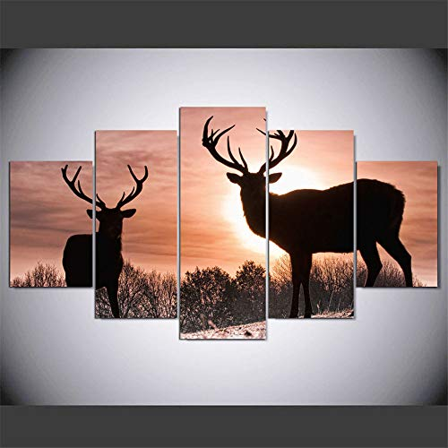 Ughjb pittura decorativa su tela hd, stampa digitale, pittura ad olio decorativa, tramonto a cinque maglie, due alci senza cornice