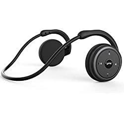 KAMTRON Casque sans fil Bluetooth Écouteurs Marathon Sports - Bluetooth 4.2 [2018 Upgraded] - Noir