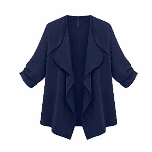 Kolylong® Strickjacke Damen Frauen Elegant Langarm Strickjacke Herbst Locker Oversize Parka Loose Mantel Mode Jacke Kurz Cardigan Blazer Outwear Bluse (XXXL, Marine)