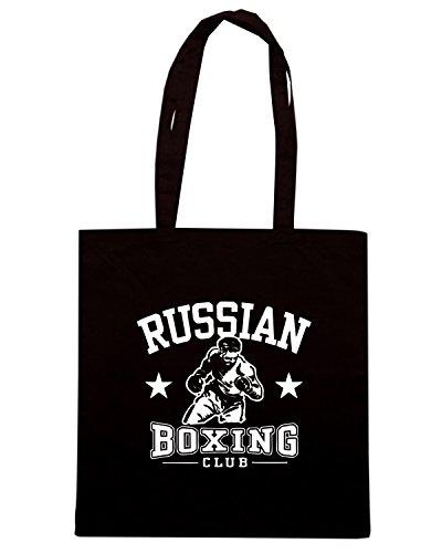 T-Shirtshock - Borsa Shopping TBOXE0095 russian boxing Nero
