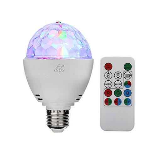 TSSS® E27 RGB LED Mini Ball Drehender Kristall Bühnenlicht Disco Hause Familie Partei Club Bar DJ Pub Hochzeit Fernbedienung Birne Glühlampen (1 Stück)