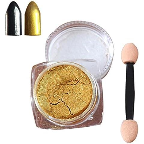 Tongshi 2g / Caja de la plata del oro del brillo del clavo del clavo del polvo del polvo brillante espejo