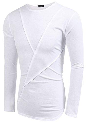 COOFANDY Shirt Herren Langärmelig Patchwork Rundhals Oberteile Slim Fit Einfarbig Casual Sweatshirt Weiß L
