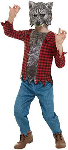 Fancy Ole - Jungen Boy Kinder Horror Werwolf Kostüm, Hose Oberteil und Maske, perfekt für Halloween Karneval und Fasching, 104-116, Rot