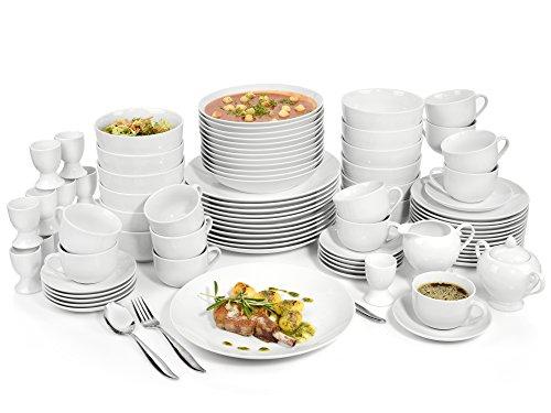 Sänger Geschirrservice New Port aus Porzellan 86 teilig | Kombiservice für 12 Personen aus Speisetellern, Desserttellern, Suppentellern,Tassen, Untertassen, Eierbechern sowie Milchkanne und Zuckerdose Dinner-service-set