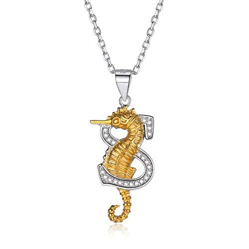 ChicSilver 925 Sterling Argent Collier Femme Pendentif Lettre S&Animal Hippocampe Plaqué Or AAA+CZ Chaîne Réglable 18+2inches(45+5cm) Cadeau Anniversaire Fille