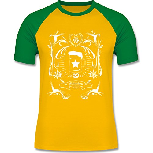 Oktoberfest Herren - Oktoberfest 2017 Rockabilly - zweifarbiges Baseballshirt für Männer Gelb/Grün