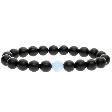 MIKINI Lava Rock Beads Matte Agate Beads Elastic Energy Bracelet