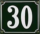 FS - Targhetta Smaltata Numero civico 30, 12 x 14 cm, Colore: Verde/Bianco