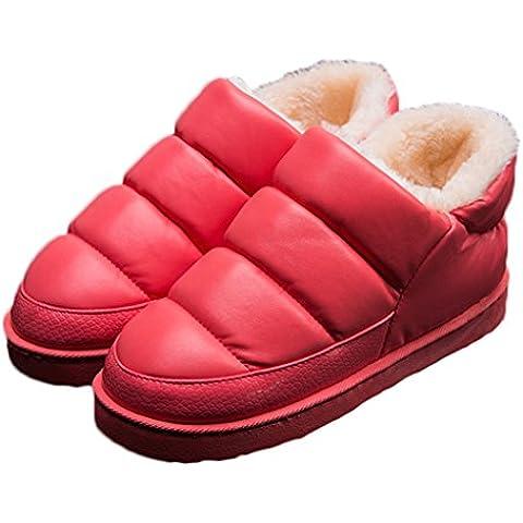CNYYWISHSTYLE unisex color puro de la PU de cuero zapatos de invierno cubierta a prueba de agua tibia