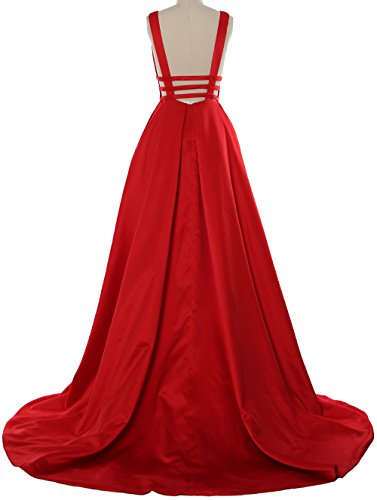 MACloth Deep V Neck Maxi Prom Ball Gown Open Back Satin Formal Evening Dress Oasis