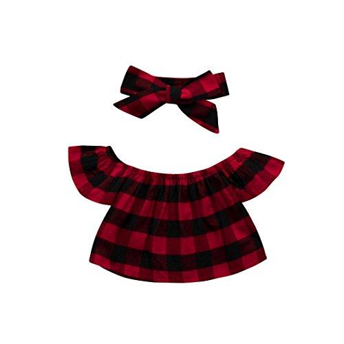 Baby Stirnbänder verknotete Headwrap Hirolan Babykleidung Mädchen Plaid Drucken Schulterfrei Kinder Tops+Stirnband Blumen Outfits Kleinkind aus Schulter Mädchen Kleidung (120, Rot) (Plaid Drucken Floral)