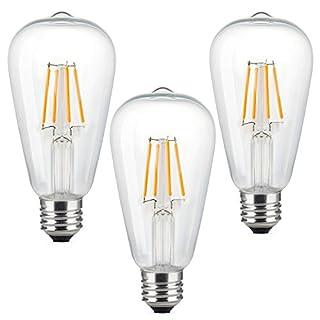 KJLARS 3er Pack LED Lampe 4W ST64 LED Edison Birnen, 40W Entspricht Glühbirne Lampe,2200K Warmweiß LED Filament Glühfaden Leuchtmittel