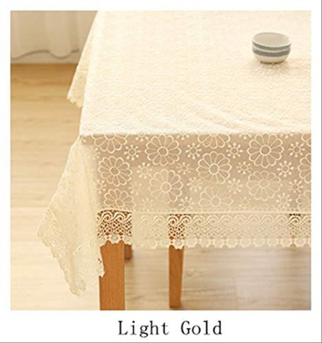 AOUP-Nappe, European Embroidery Gold Openwork Lace Dustproof Banquet Nappe, Home TV Cabinet Réfrigérateur Cover 125cm X 125cm Or léger