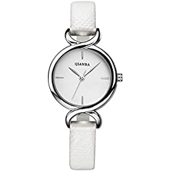 QIANBA Q2603WH White Women Luxury Leather Strap Hot Brand Casual Famous Quality Gift Quartz Female Waterproof Simple Popular Fashion Watches