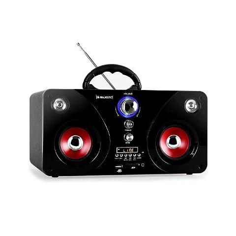 Majestic AH-238 Hifi Kompaktanlage Micro Mini Audiosystem (USB-SD-Slot, UKW-MW-Radio, Fernbedienung, Hochglanz-Front, Tragegriff)
