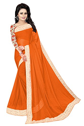 Vrati Fashion Women's Orange Colour Laycra Saree With Unstiched Blouse Material