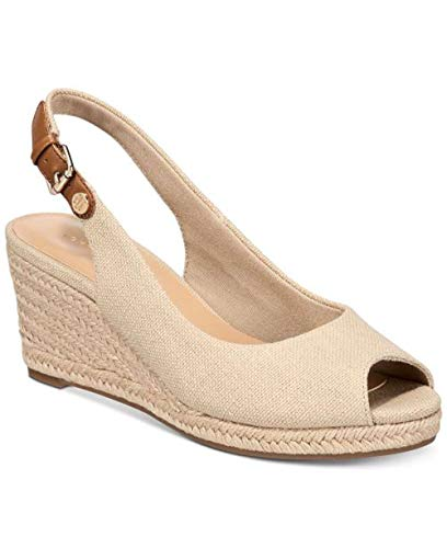Tommy Hilfiger Mujeres Nhalia2 Punta Media Abierta Casual Sandalias de Cuña, Light Natural Fabric...