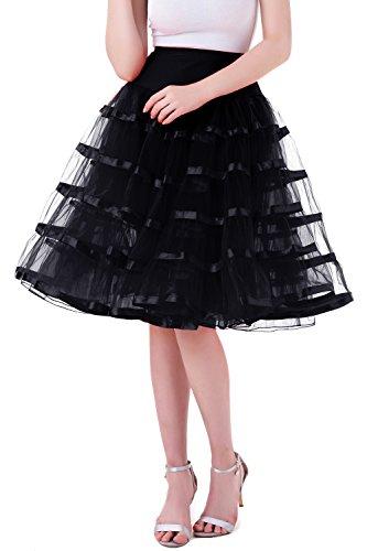 Tsygirls Unterrock Petticoat Reifrock Tüll Tutu für Vintage Kleid 1950 Röcke Schwarz Größe L-XL (Billig Schwarz Tutu Rock)