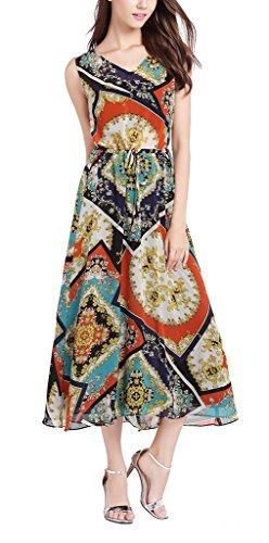 MILEEO Femme Robe Vintage Floral Fleur Totem Imprimé Bohème Multicolore Chiffon Cocktail Robe Long Sans Manche Rouge