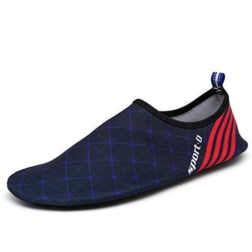 Eagsouni® Unisexe Pieds Nus Aquatique Chaussures de Peau Aqua Chaussettes Pour Plage Swim Surf Yoga Gym #1Bleu Foncé