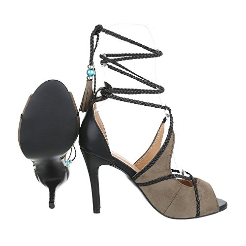 High Heel Sandaletten Damenschuhe Plateau Pfennig-/Stilettoabsatz High Heels Schnürsenkel Ital-Design Sandalen / Sandaletten Grün Grau