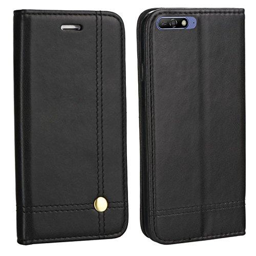 MOELECTRONIX Edle Buch Klapp Tasche SCHWARZ Flip Book Case Schutz Hülle Etui für Huawei Y6 2018 Dual SIM ATU-L21