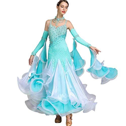 (LRR Stretchy Modern Dance Competition Kleider Ärmellos , Lyrische Gesellschaftstanz Kostüme Kostüm Trikot Staps Flamenco Tango Strass (Farbe : Blau, größe : XXL))