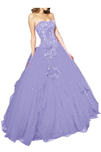 Gorgeous Bride Fashion Lang Traegerlos A-Linie Satin Tuell Abendkleid Abendmode Festkleid Hell-Lila