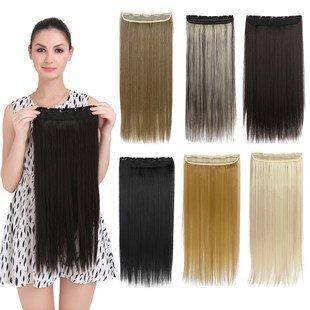 Cheveux Synthétiques 55,9 cm Pièces Accessoires, soyeux droite Clip de cheveux Extensions, Couleur # 27J Blond Miel, 120g. haute densité