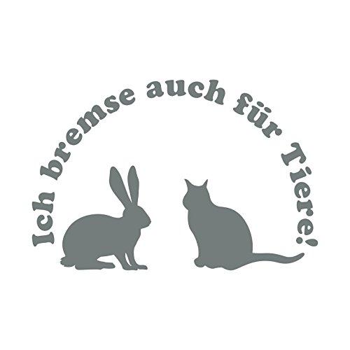 Folistick Ich Bremse auch für Tiere! Aufkleber Katze Hase Tierschutz Autoaufkleber (GRAU)