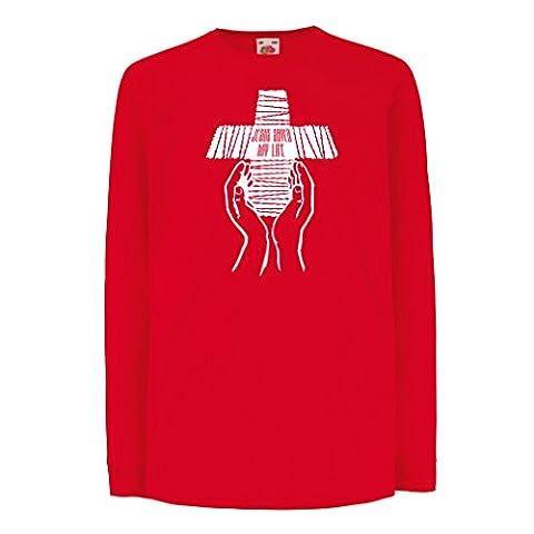 T-shirt pour enfants avec des manches longues Jésus a sauvé ma vie - foi religieuse vêtements chrétiens (5-6 years Rouge